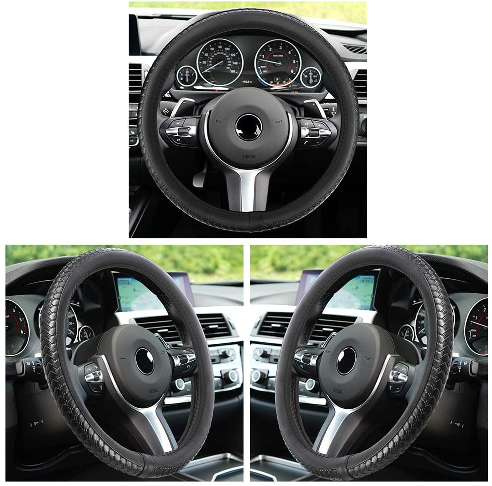 DishyKooker Car Steering Wheel Cover, Microfiber PU Leather Anti-Slip Steering Cover Fits All Standard Size 15inch Black