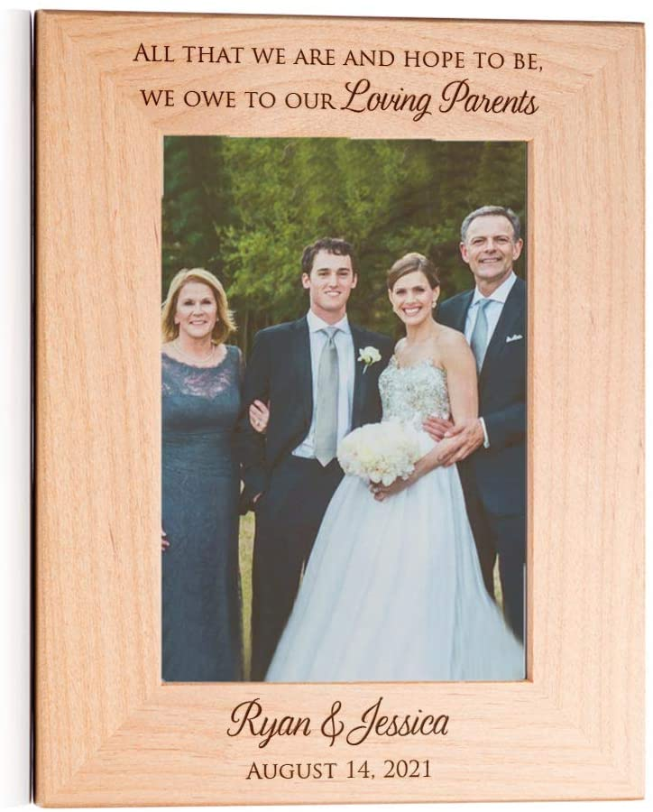 Lifetime Creations Personalized Wedding Picture Frame for Parents of Bride and Groom: Personalized Wedding Gift for Parents, Engraved Wedding Frame Holds 5x7 Photo (Portrait)