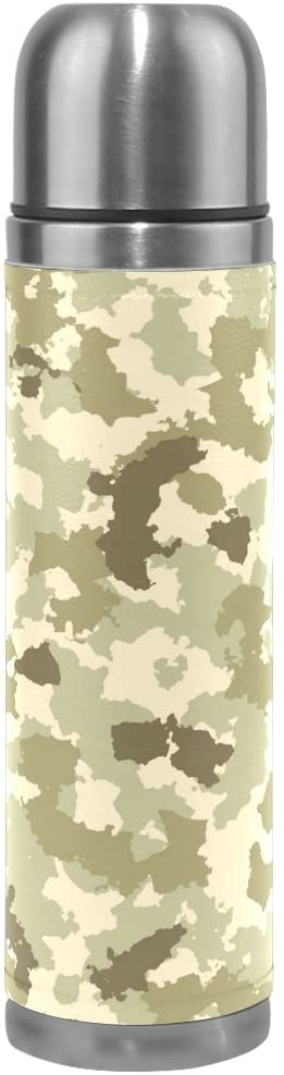 ALAZA Vintage Green Camouflage Vacuum Flask 17 oz, Double Layer Stainless Steel Vacuum Insulated PU Leather Travel Mug Kettle Bottle Cup