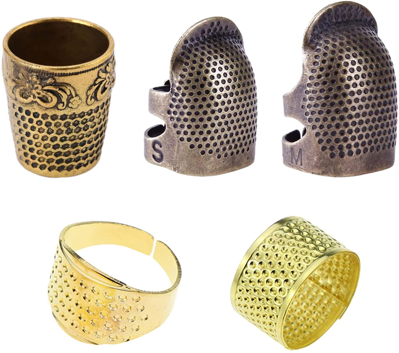 5 Pcs Sewing Thimble, Adjustable Metal Copper Sewing Finger Protector Shield Fingertip Sewing Quilting Craft Accessories