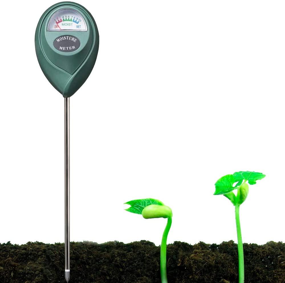 YUIDDA Soil Moisture Meter, Plant Water Meter Soil Thermometer Soil Tester Kit for Plant Gardening Farming No Battery Needed(Green, 1Pcs)