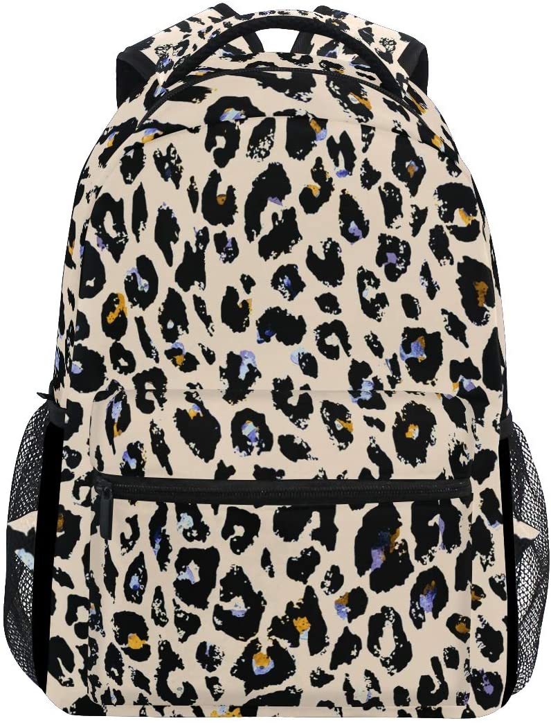 ALAZA Lightweight Backpack for School,Watercolor Leopard Print Animal Geometric Pattern School Bookbags Laptop Backpack Casual Travel for Youth Boys and Girls Back to School