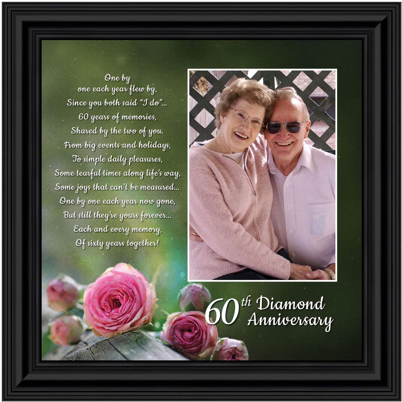 Crossroads Home Décor 60th, Diamond 60th Wedding Anniversary Grandparents Gifts, for Grandparents, 60th Anniversary Card for Parents, Picture Frame for Couples, 6310B