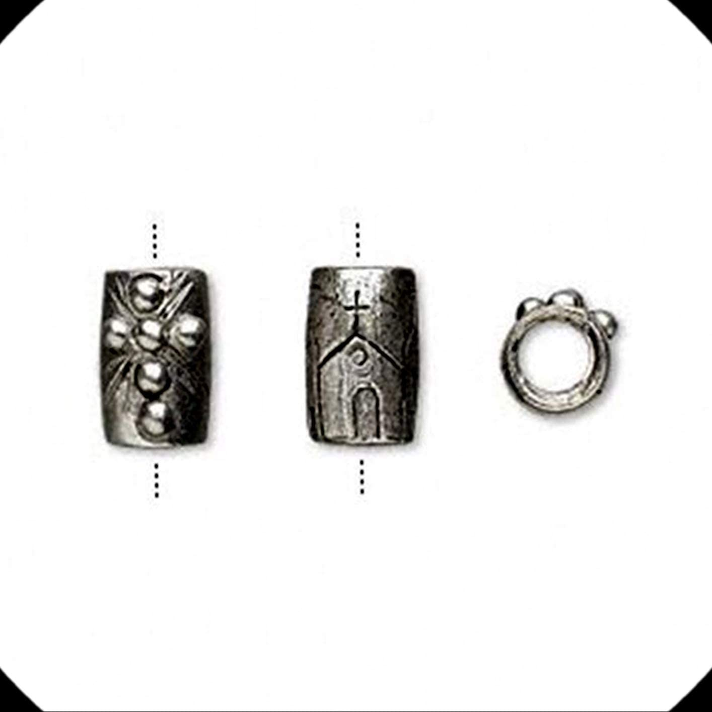 Antiqued Silver Christian Cross & Church Tube 5mm Hole European Charm Bead 1pc Adorable Charms and More for Your own Designs by CharmingStuffS