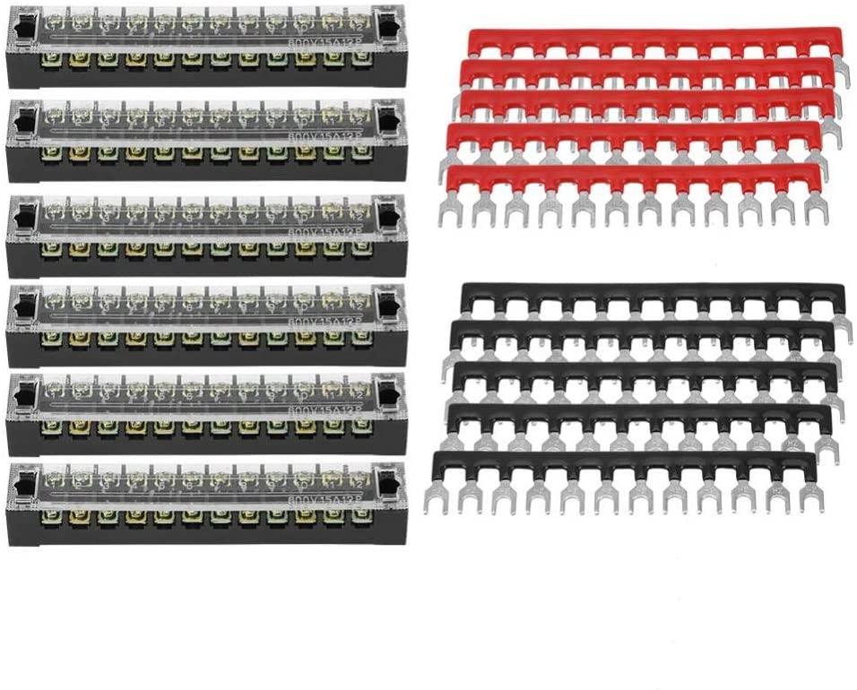 Screw Terminal Block, 5pcs Dual Row 12 Positions 600V 15A Screw Terminal Block + Pre-insulated Terminal Barrier Strip