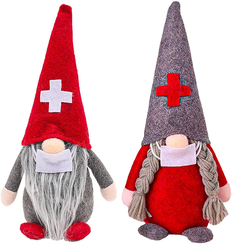 2PCS Christmas Gnomes Decoration Handmade Santa Scandinavian Gnome Tomte Plush Doll Home Ornaments Tabletop Santa Figurines Christmas Doll