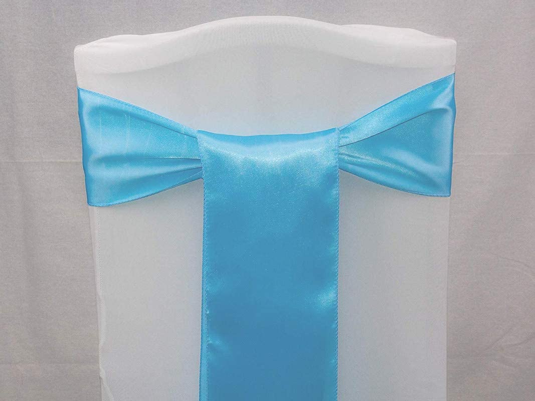 VDS - 200 PCS Satin Wedding Chair Sashes Bows for Wedding Party Banquet Decor - Ribbon Tie Back Sash Bow – Turquoise