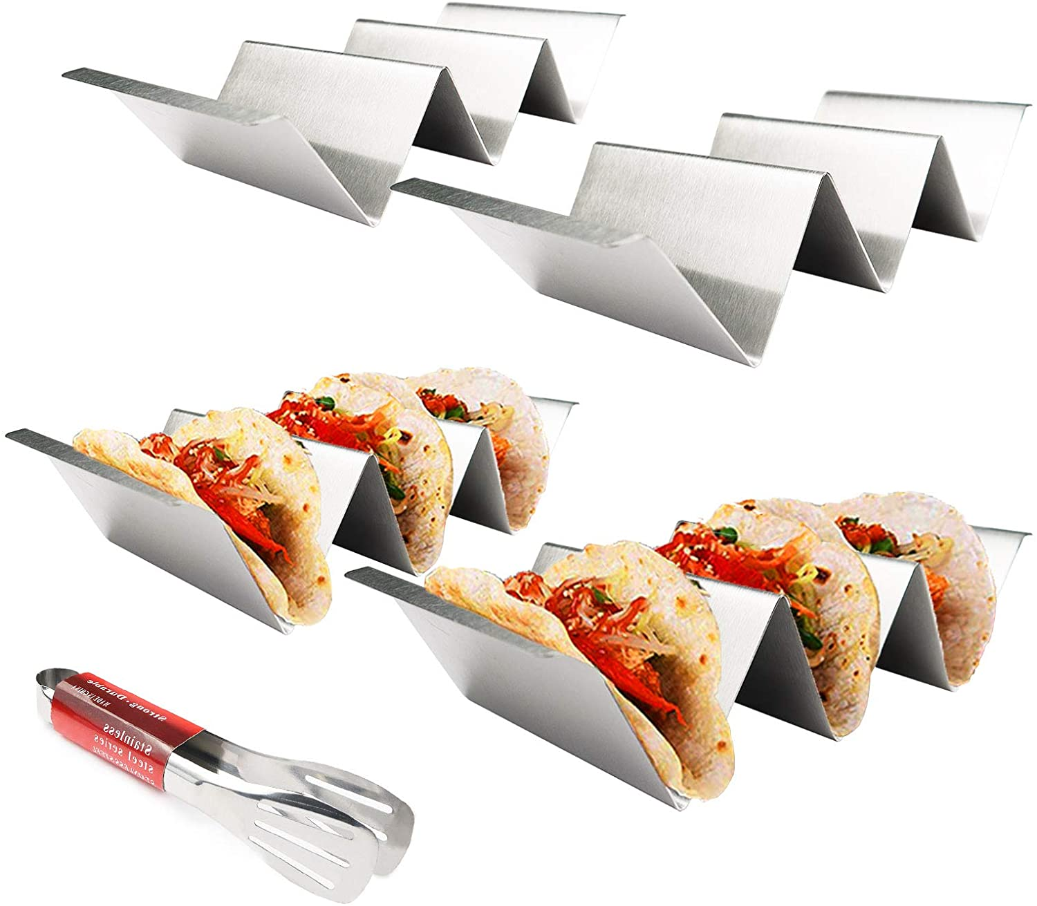 Taco Holder Stands Set of 4,Stainless Steel Taco Holders With Handles Safe for Oven,Grill and Dishwasher