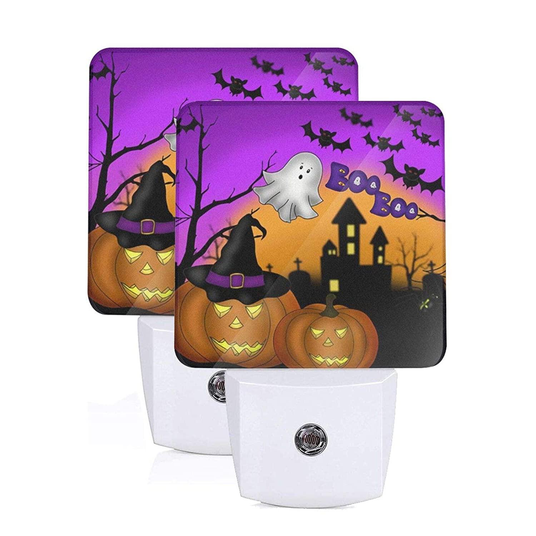 MSGUIDE Halloween Pumpkins Ghost Night Light 2 Pack, Plug-in LED Nightlights Auto Dusk-to-Dawn Sensor Lamp for Bedroom, Bathroom, Toilet, Stairs, Kitchen, Hallway, Kids, Adults
