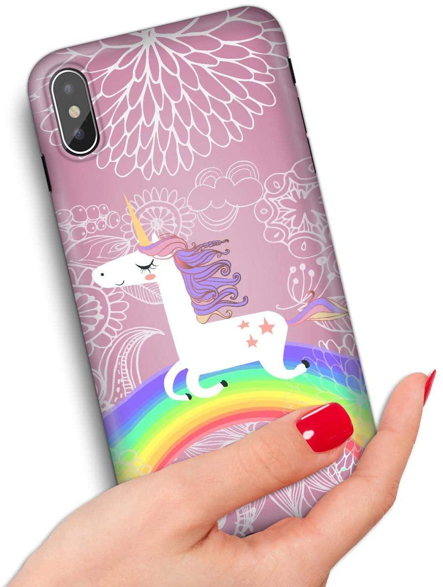 for iPhone Xs, iPhone X, Quality Art Design Soft Edge IMD Phone Case Cover, IMD IMD0099 Rainbow Pony Unicorn 0099