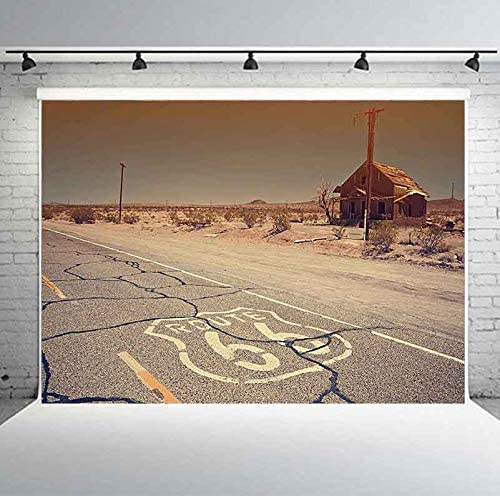 Planck 7x5ft Route 66 Backdrop Will Rogers Highway Desert House Photography Background Wallpaper for Children Adult Portrait Rural Theme Party Studio Props