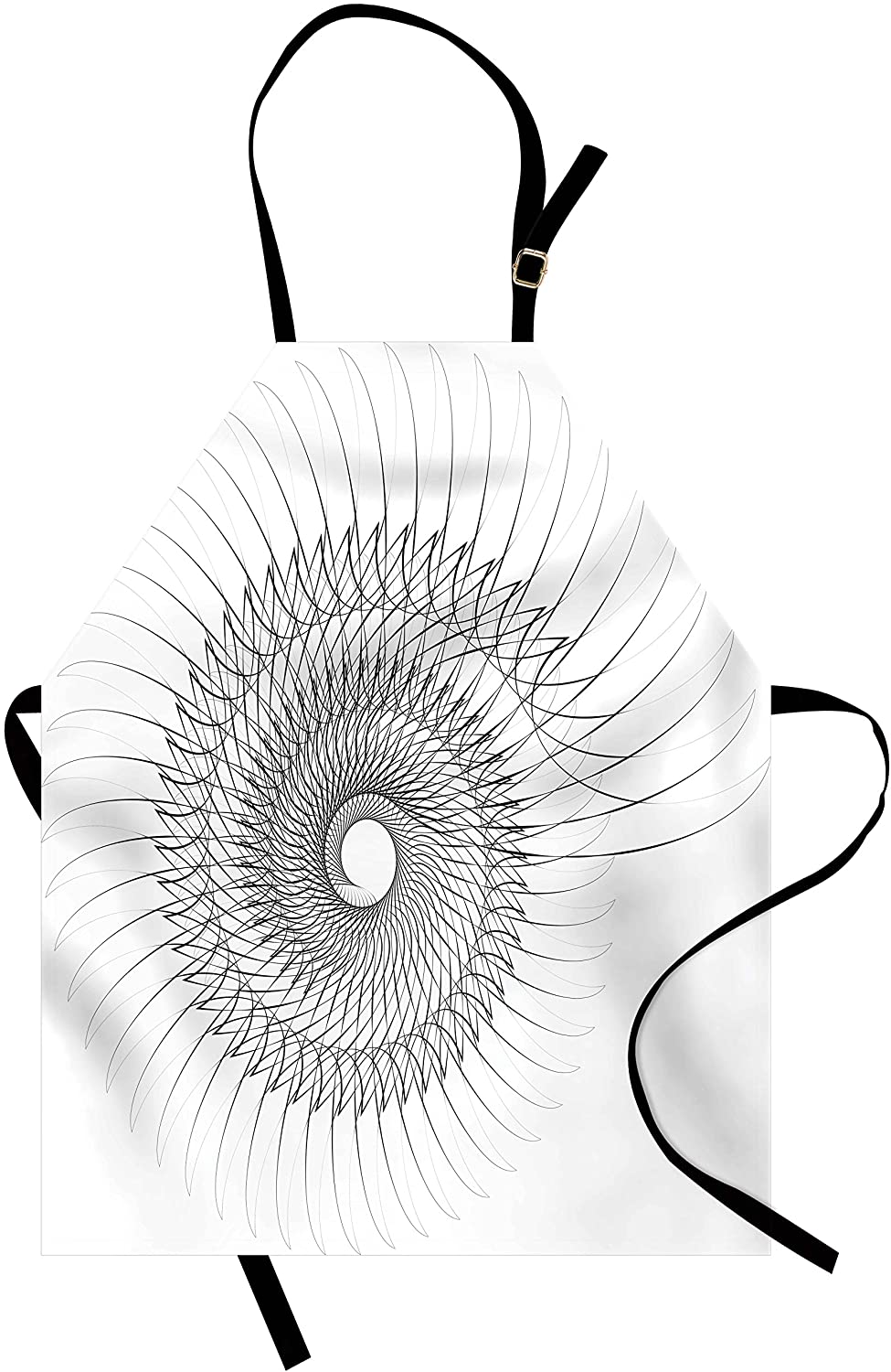 Ambesonne Spires Apron, Geometric Rotary Spiral with Helix Elements and Regular Lines Cyclic, Unisex Kitchen Bib Apron with Adjustable Neck for Cooking Baking Gardening, Grey
