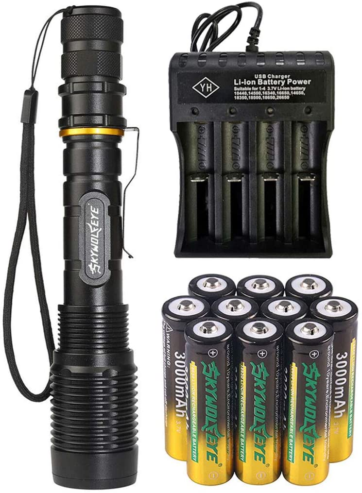 2000 Lumen 18650 Flashlight with 10PCS 3.7V High Capacity Battery and 4 Slots USB Charger, Ultra Bright Adjustable Focus Tactical Flash Light Torch, 5 Modes for Camping, Hiking, Outdoor