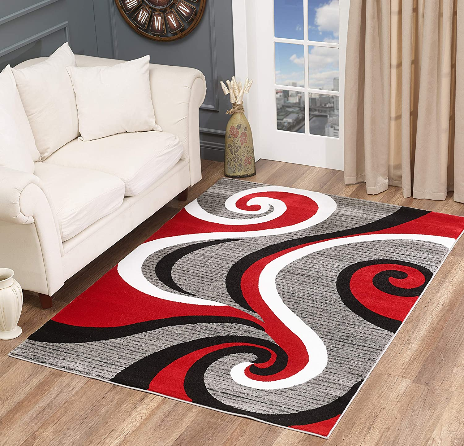 Golden Rugs Modern Area Rug Swirls Carpet Bedroom Living Room Contemporary Dining Accent Sevilla Collection 4817 (8x10, Red)
