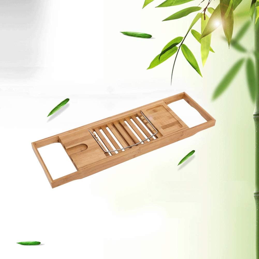 nobrand Extendable Bamboo Bathtub Rack Shelf Bathroom Shower Tub Caddy Book Reading Tray Stand New