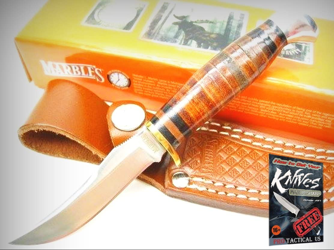 MARBLES Brown Leather SMALL HUNTER Straight Fixed Blade Knife +Sheath New! MR396 + free eBook by ProTactical'US
