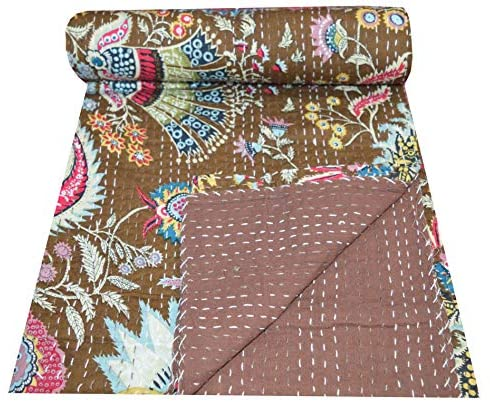Indian Handmade Mukut Print Kantha Quilt Single Size Pure Cotton Traditional Twin Kantha Quilt Kantha Blanket Bedspread (Brown)