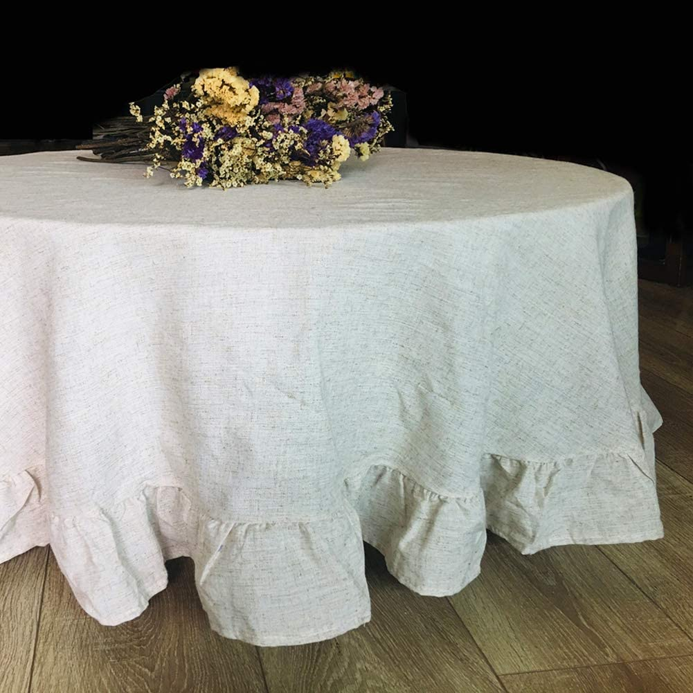 Sandweek Round Table Cloth Washable Elegant Flounces Tablecloth Cotton Linen Table Cover Fabric Dust-Proof Layer for Buffet, Holiday Dinner, Party, Banquet, Wedding Decoration (Round 60 Inch, Linen)