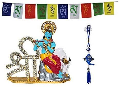 Creativegifts God idol for car dashboard pooja puja, Statues for decoration + Ganesha Car Hanging + Tibetan Flag (DB06X9SZ97S)