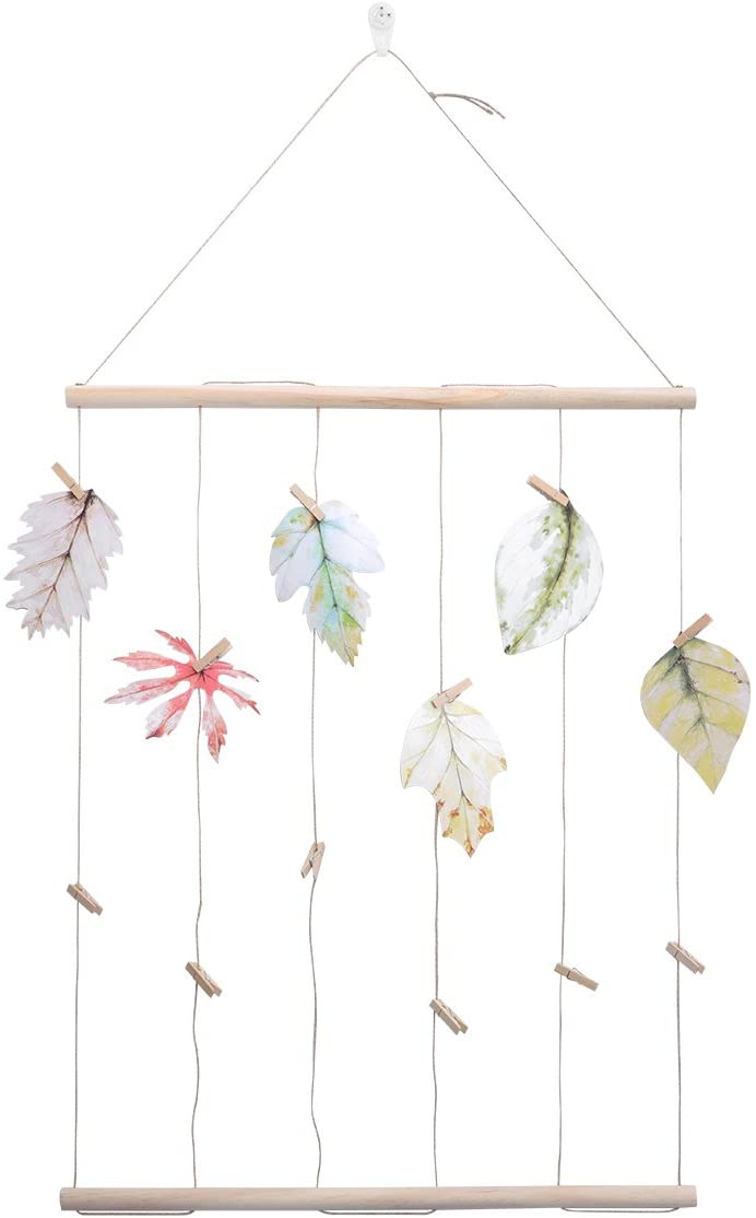 LIOOBO Hanging Photo Display Wood Wall Picture Collage with Clips Leaf Decor