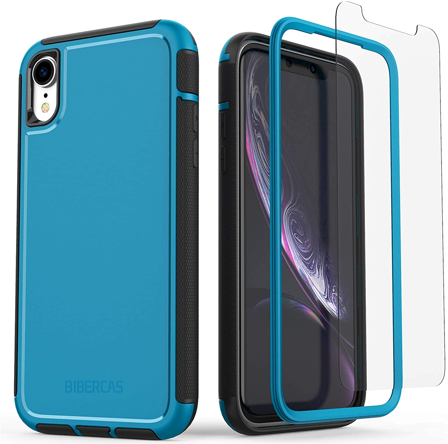 BIBERCAS iPhone XR Case Matte,Military Grade Drop Protection Defense Hard PC Back iPhone XR Case with Screen Protector,Full Body Shockproof Protective Cover Case for iPhone XR,6.1 inch