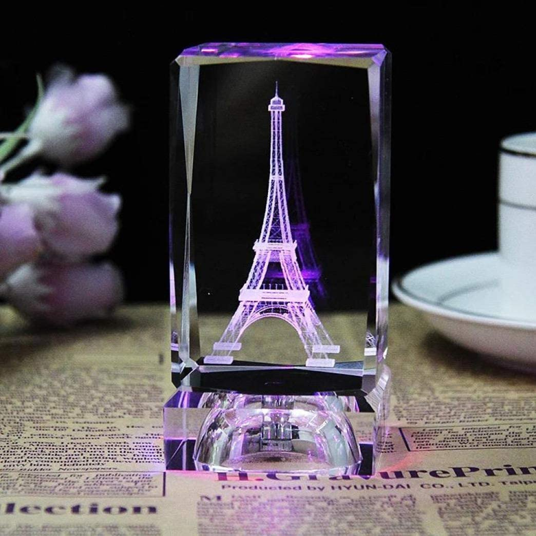 UKURO 3D Eiffel Tower Statue Crystal Cube with LED Light Base Home Living Room Decoration Craft Birthday Presents
