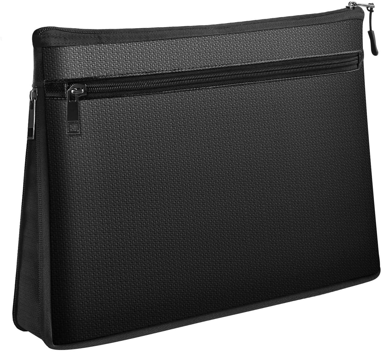 Fireproof Bag, Water Resistant & Fireproof Money Safe Bag, Fireproof Safe Valuables Storage Case & Organizer Bag with Zipper for Valuables, Cash, Passport, Keys (Black) (LLL)