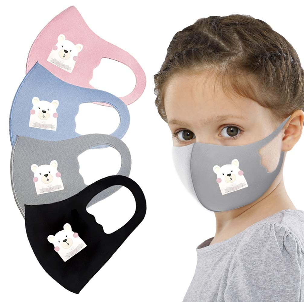 Kids Face Protective Gear Bandanas Unicorn Kitty Animal Themed Set of 4 Washable and Reusable (Polar Bear)