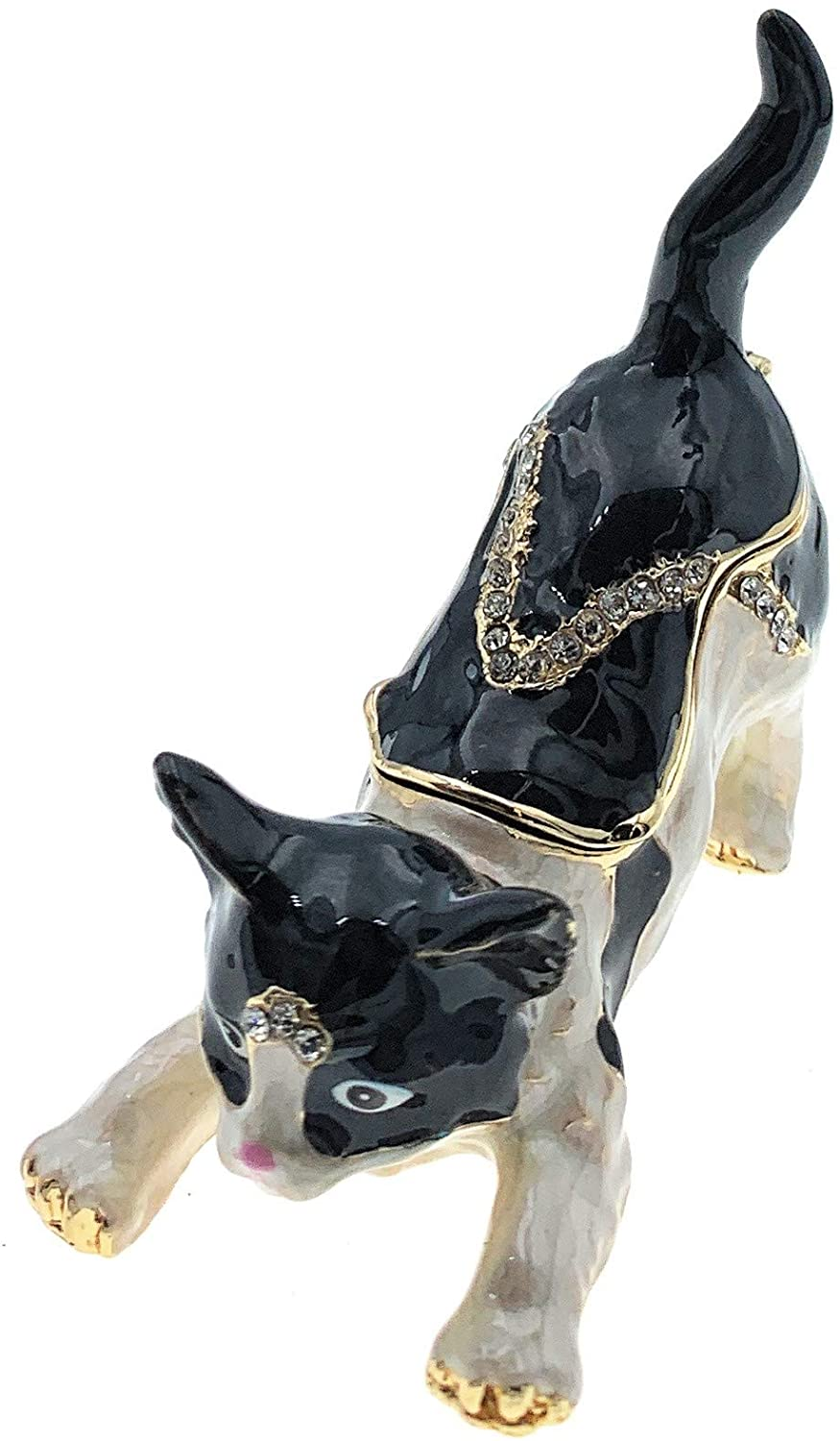 Kubla Crafts Black and White Kitty Cat Trinket Box, Accented with Austrian Crystals