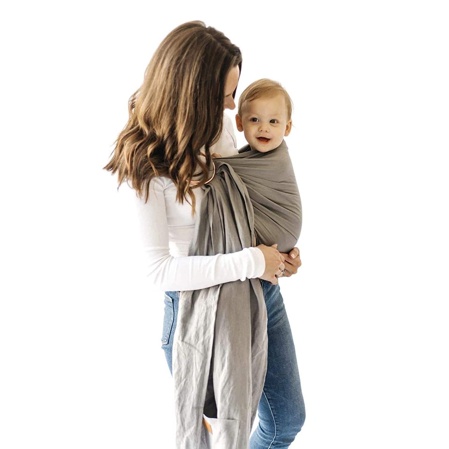 Kyte BABY Ring Slings Holds Babies from 8 to 35lbs - 100% Pre-Washed Linen 80 Inches Long, Extremely Comfortable with Full Support (Birch)