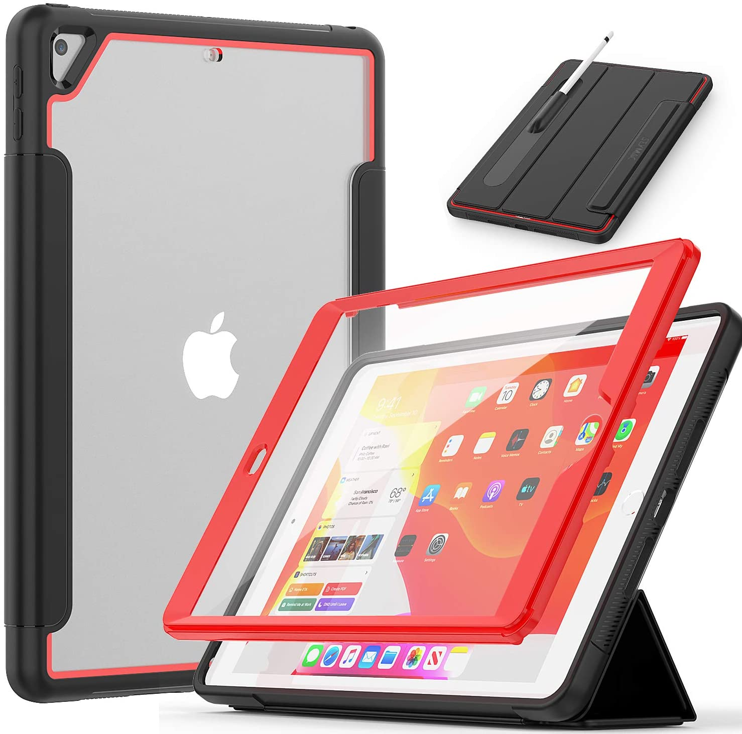 iPad 7th/8th Generation Case 10.2, SEYMAC Full Body [Shockproof] Screen Protector Case with Stand Clear Back Cover Magnetic Smart Cover Auto Sleep Wake Pencil Holder for 2020/2019 iPad 10.2-Black+Red