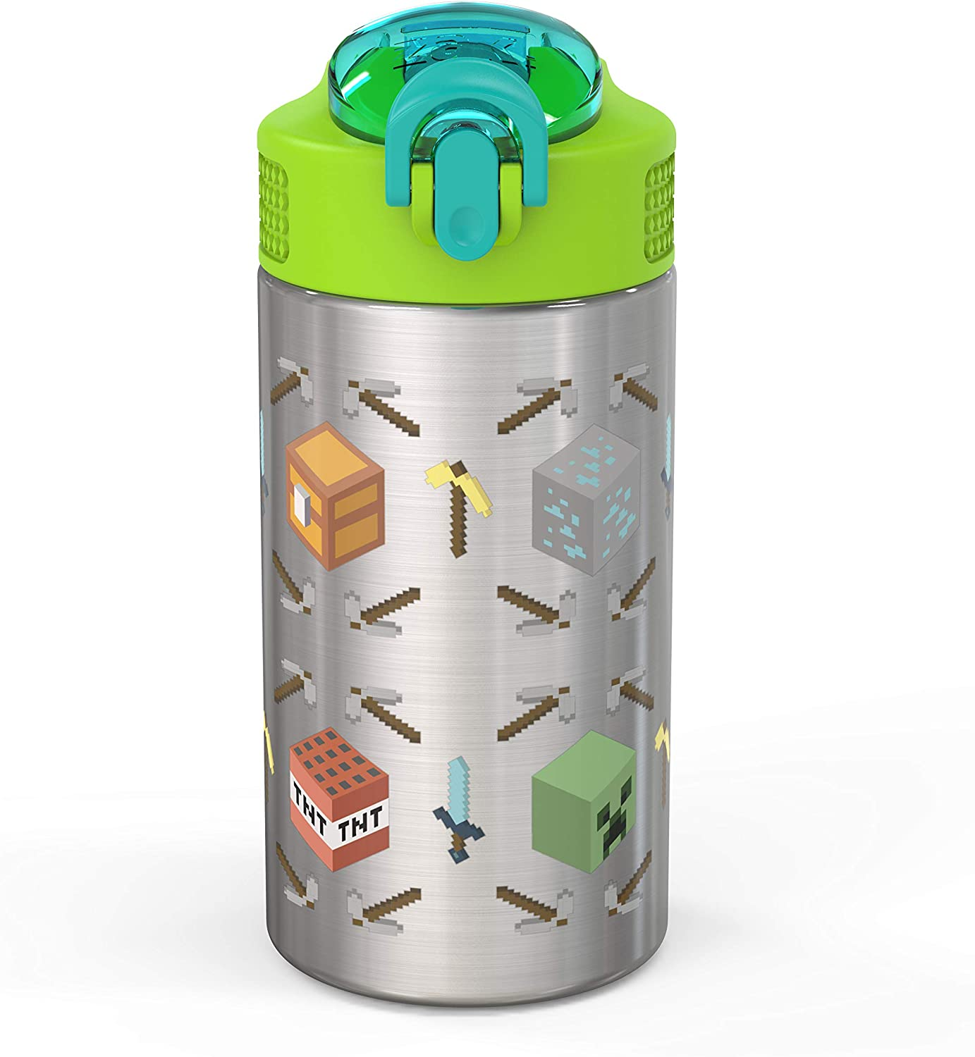 Zak Designs 15.5oz Minecraft 18/8 Stainless Steel Kids Water Bottle with Flip-up Straw Spout and Locking Spout Cover, Durable Cup for Sports or Travel (15.5oz, Minecraft)
