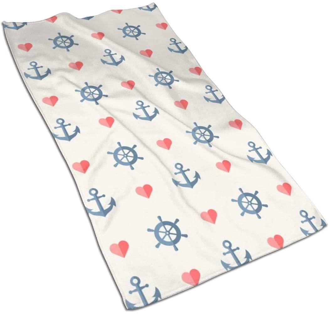 KiuLoam Nautical Anchors Heart Hand Towel Ultra Soft Highly Absorbent Luxury Towels 27.5 x 15.7 Inch for Bathroom Gym Spa