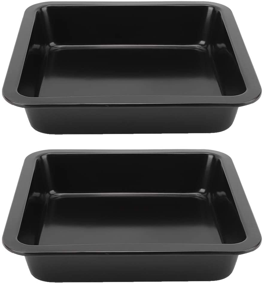2Pcs 9 Inch Square Cake Pan Non‑Stick Cheese Pizza Mold Tray Brownie Pan (Black)