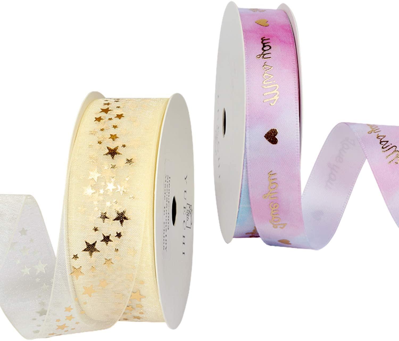SQINAA Satin Ribbon Curling Ribbon Gift Ribbon 2 Rolls Nice Design Patterns Perfect for Gifts Wrapping,Christmas DIY Crafts,Star
