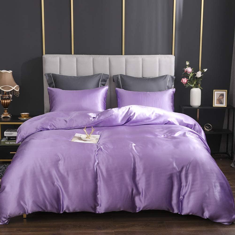 EastElegant Silk Like Duvet Cover Set 3 Pieces Bedding Set Duvet Cover and Pillow Shams Light Purple Queen Size