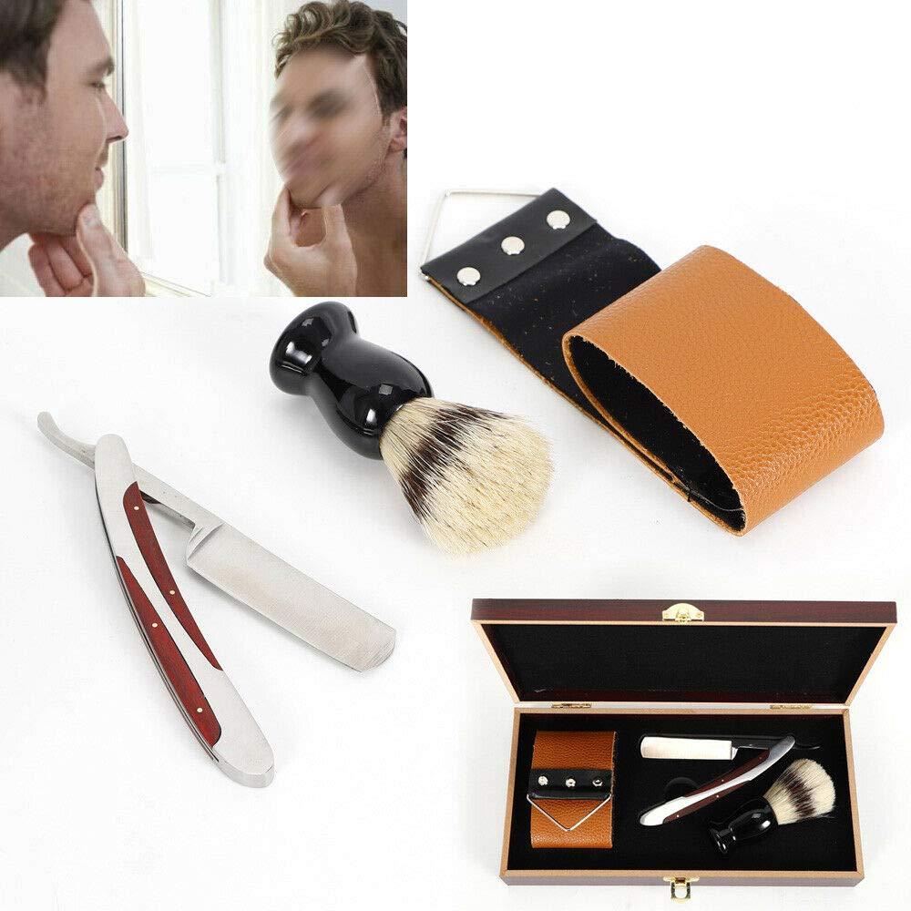 Manual Razor, 3Pcs/set Shaver Kit,Men's Straight Edge Razor,4-in-1 Multi-function Professional Barber Straight Edge Razor Beard Brush Shaving Strop Wooden Box Gift Set +wooden box