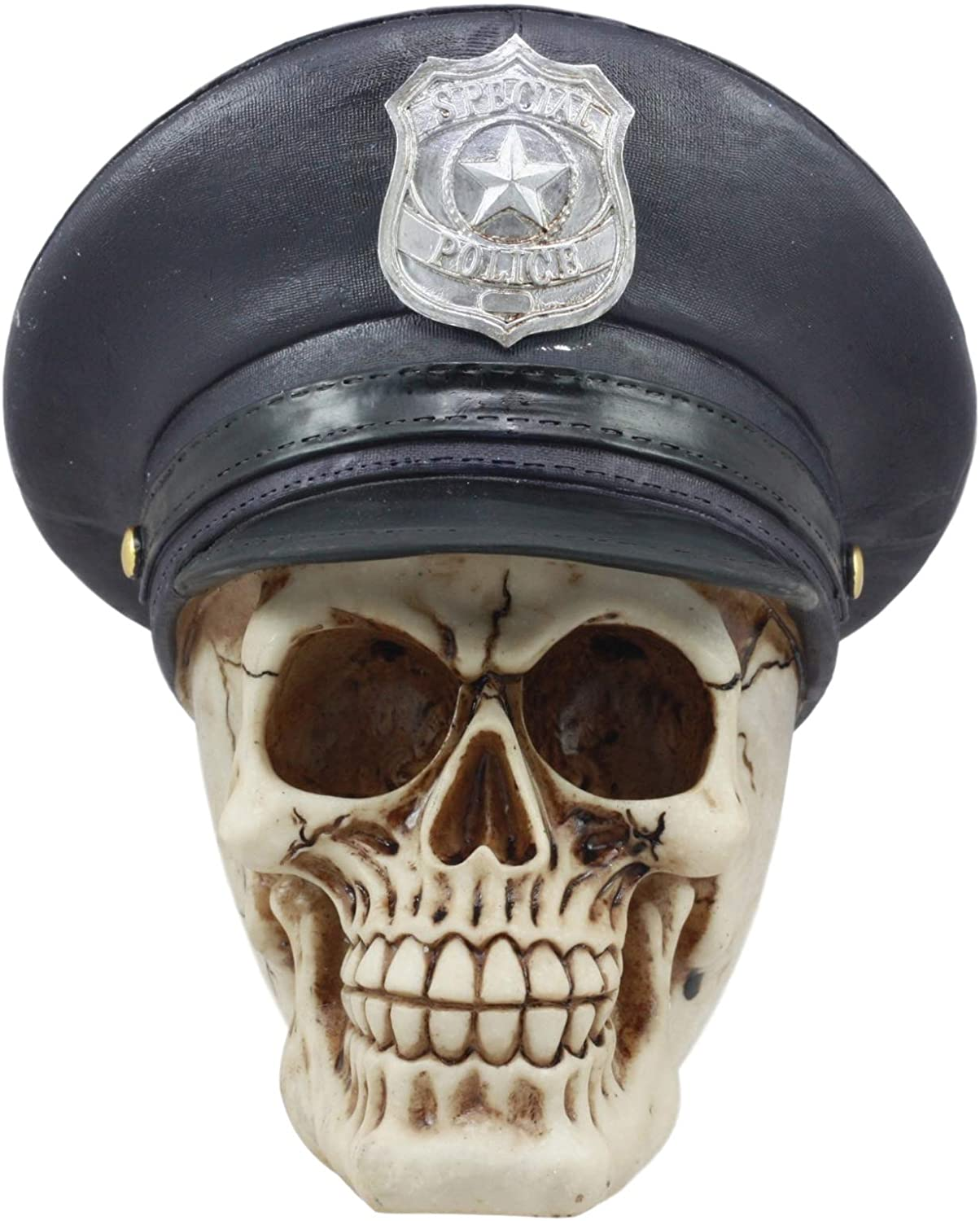 Ebros Law Enforcement Police Captain Skull Figurine 6.75 Long Cop Officer Skull with Hat Statue