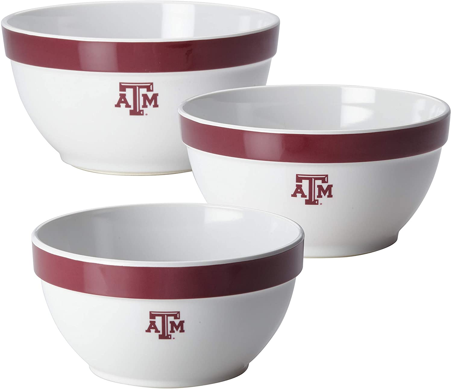 College Kitchen Collection 3-Piece Melamine Mixing Bowl Set, Texas A&M