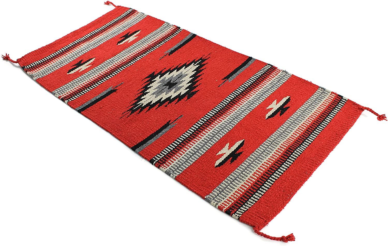 Onyx Arrow Southwest Décor Area Rug, 20 x 40 Inches, Center Diamond Red/Black
