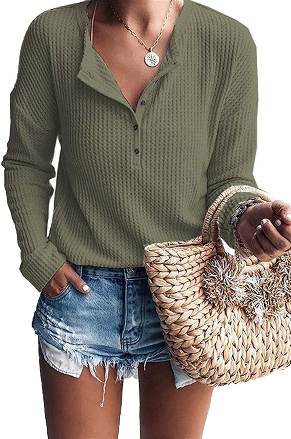 Womens Tops Long Sleeve Henley Shirts Waffle Knit V Neck Button Down Blouses