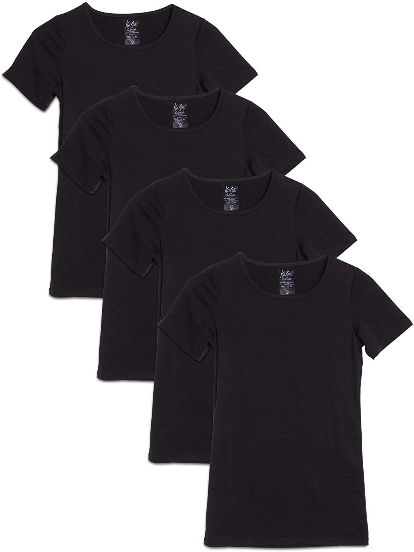 Kalon Women's 4-Pack Scoop Neck T-Shirt Square Tag