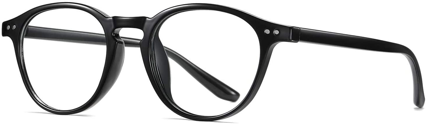 Ultralight Blue Light Blocking Glasses Women Men Classic Retro Thick Round Rim with Rivet Decoration Design (Glossy Black)