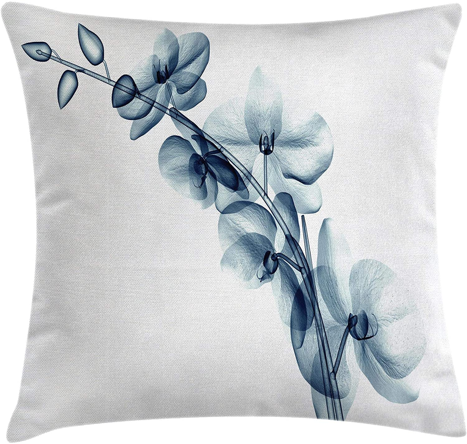 Ambesonne Flower Throw Pillow Cushion Cover, Contemporary X-ray Illustration of Orchide Flower Unseen Nature Picture, Decorative Square Accent Pillow Case, 18