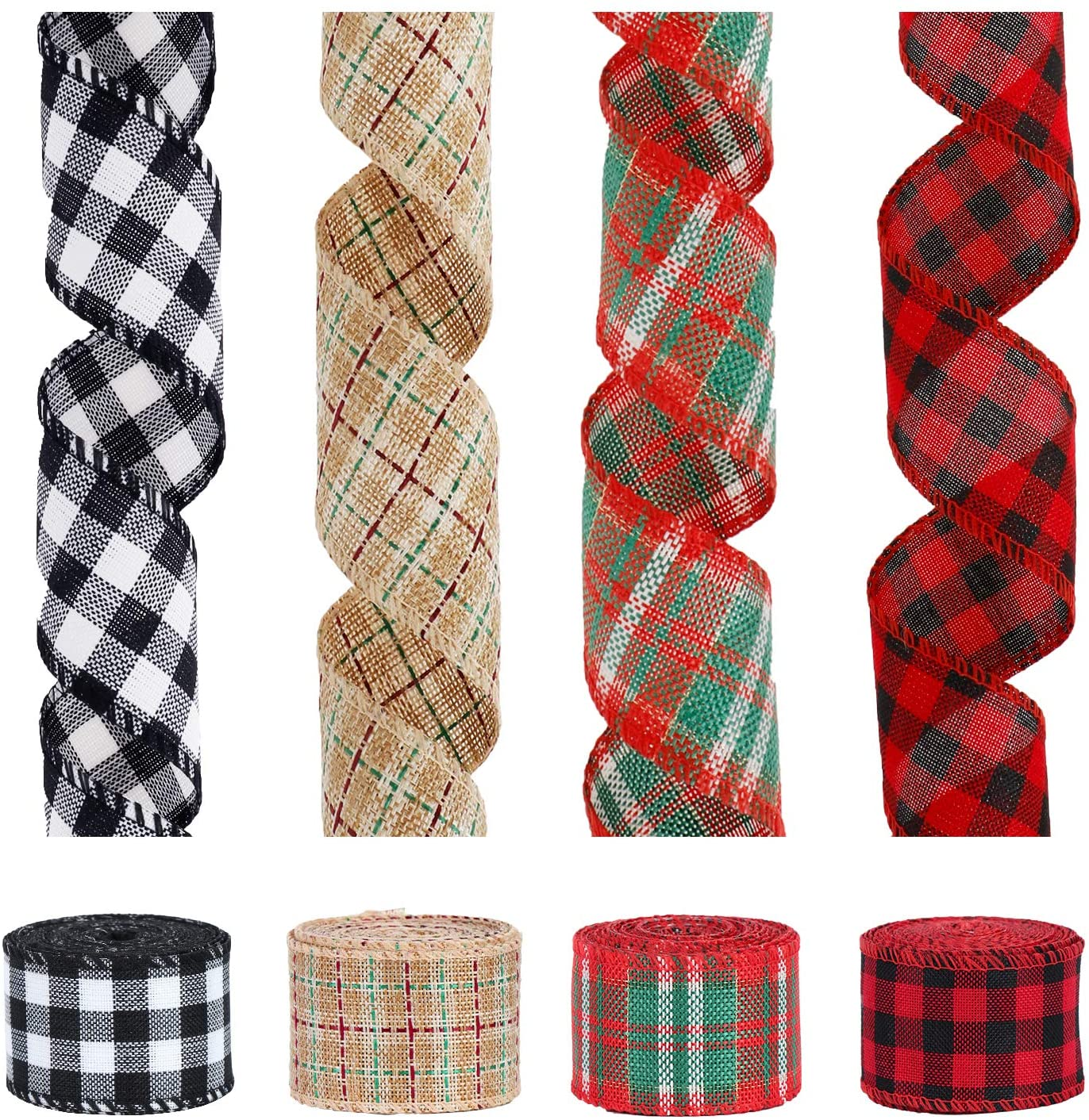 4 Rolls Plaid Burlap Ribbon Roll- 6.5 Yards 2'' Wide Wired Edge Weave Ribbon, Multi-Color Plaid Burlap Ribbon for Christmas Tree Ribbon Wreath Bows Gift Wrapping Decor