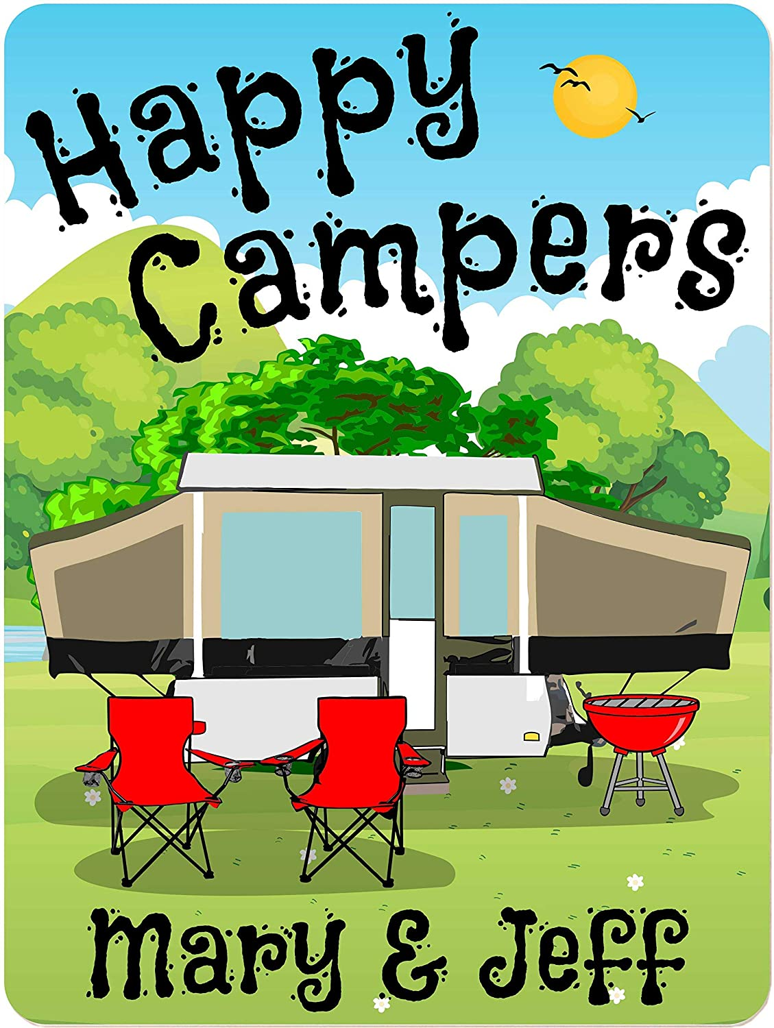 Personalized Aluminum Camping Sign with Pop-Up Trailer, 1 Line Custom Text, 9