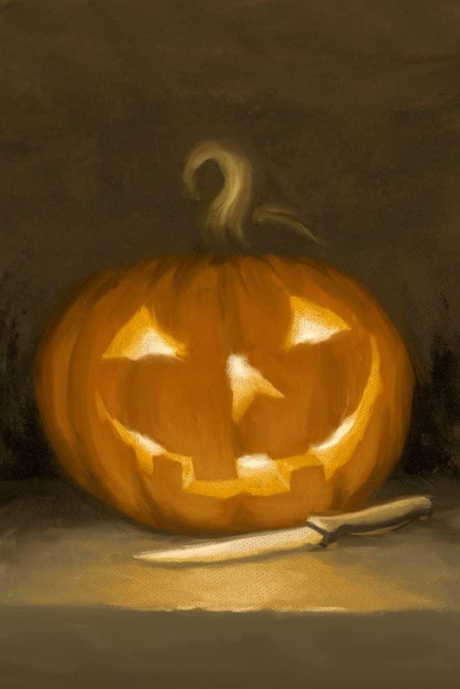 Jack-O-Lantern - Halloween Oil Painting (9x12 Art Print, Wall Decor Travel Poster)
