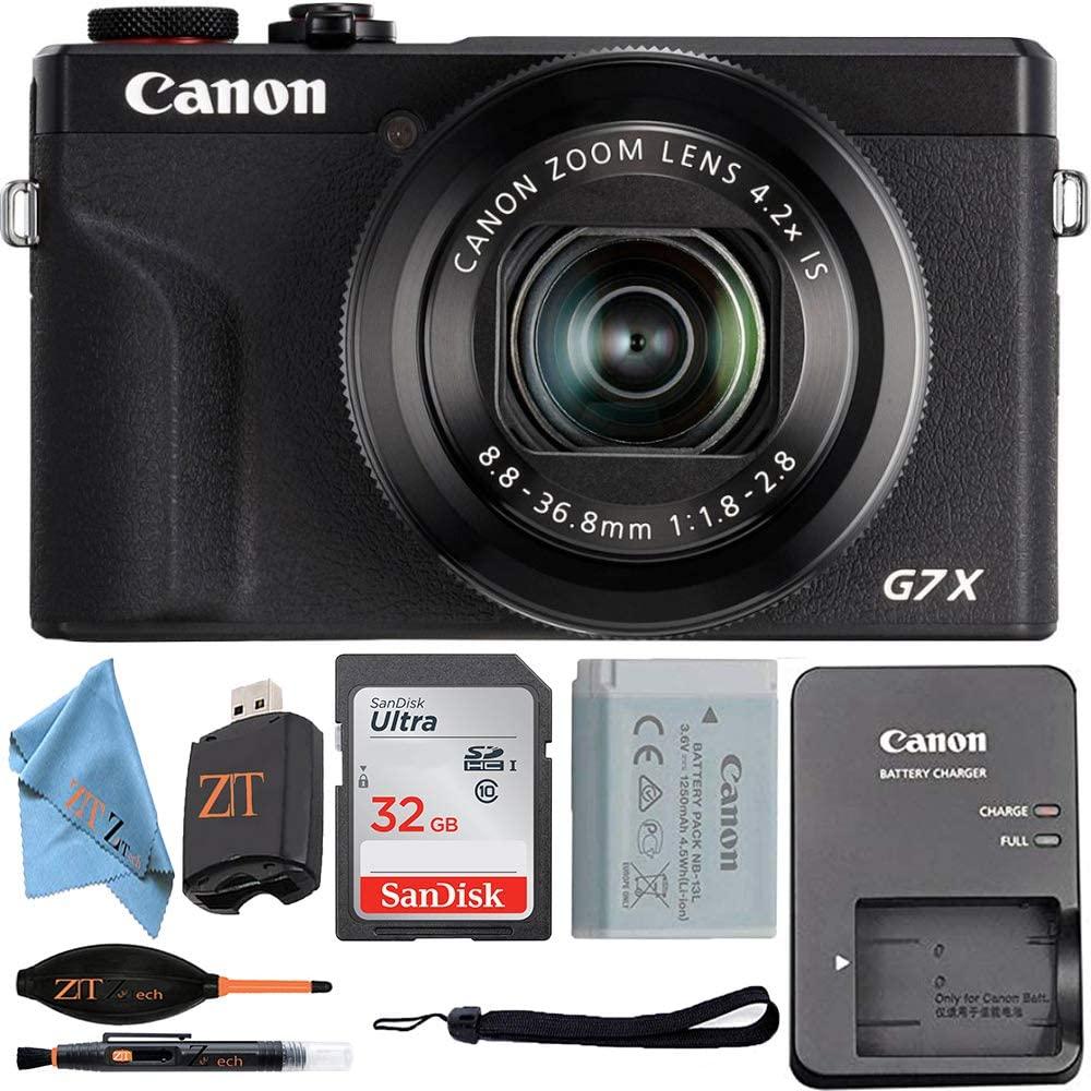 Canon Powershot G7 X Mark III Digital Camera with Wi-Fi & NFC, LCD Screen, 4K Video + Sandisk 32GB Memory Card + ZeeTech Starter Accessory Bundle (Black)(Starter Bundle)