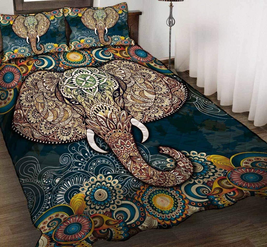 GANTEE Elephant Quilt 1 - Bedding Sets Queen with Comforter Comforter Cover Duvet Cover Set Full Size