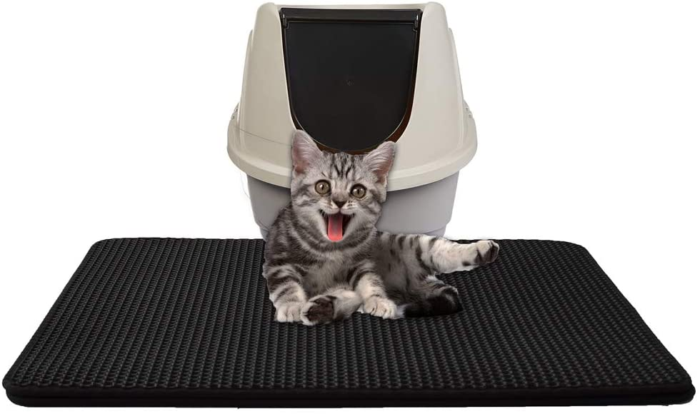 PETEMOO Cat Litter Mat,Double-Layer Honeycomb Cat Feeding Mat Durable Waterproof Litter Box Mat Non-Toxic Protect Floor and Carpet Easy Clean Cat Litter Tray Pad